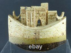 Super Rare Bryan Newman Studio Pottery Art Sculpture Houses with Boat Vintage
