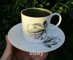 Superb Set x6 Vintage Susie Cooper Black Fruit Demitasse Espresso Cups & Saucers