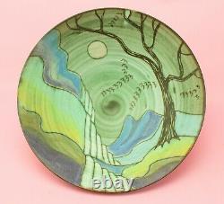 TESSA FUCHS Large Bowl Studio Pottery Dish Blue Green 1980s Vintage Landscape