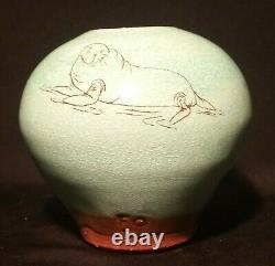 TIM FOSS vtg seattle studio art pottery vase pnw cartoon animation sea lion seal