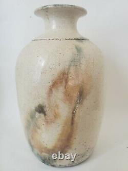 TOM SMITH Raku studio art Canadian Pottery Vase Iridescent Organic Signed vtg