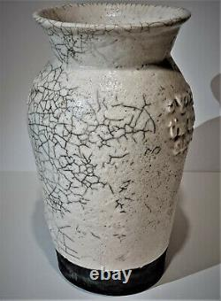 Tony Evans Monumental 17 Gazelle Raku Studio Art Pottery Vase Vintage 1974