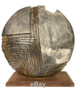 Unusual Large Round RAKU Studio ART Pottery Vase, Sculpture Vintage Modern, 027