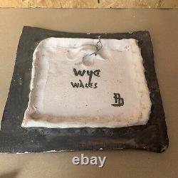 VINTAGE 1950s ADAM DWORSKI WYE STUDIO POTTERY CLYRO WALL PLAQUE BULL -SIGNED
