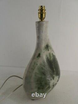 VINTAGE 1960s 1967 GREEN / WHITE STUDIO POTTERY LAMP / VASE MARKED VMT G11