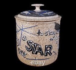 VINTAGE CHARLES COUNTS MID-CENTURY MODERN RISING FAWN STUDIO POTTERY JAR With POEM