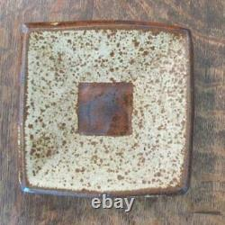 VINTAGE JANET LEACH St IVES STUDIO POTTERY SQUARE FORM REPEAT STONEWARE DISH