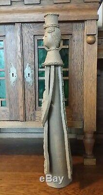 VINTAGE STUDIO ART POTTERY CLAY FEMALE CANDLESTICK SIGNED 20.5 tall RUSSIA