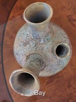 VINTAGE Studio/Art Pottery FIGURAL Vase, FACE Signed KC