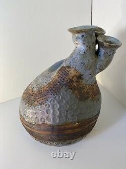 VTG 1970s large Studio Art Pottery Signed Nancy Herrick Ceramic abstract