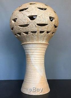 VTG 70s Studio Pottery Brutalist LAMP Cressey Panton Era Ceramic raymor HUGE mcm