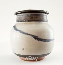 VTG CERAMIC CLAY STUDIO ART POTTERY GLAZED JAR POT WithLID SIGNED ROBERT SPERRY