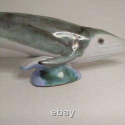 VTG Signed POD STUDIOS Edgecomb Maine Pottery Sculpture Blue Whale Art Ocean