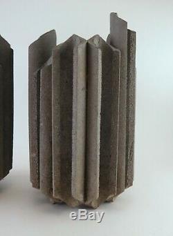 VTG Stone Cast Architectural Signed Studio Planters Pottery Cressey Tackett Era