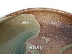 VTG Studio Art Pottery Large Bowl Wheel Thrown Earth tones & Green Drip Glaze