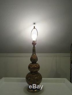 VTG Studio Pottery Drip Glaze Table Lamp Retro Tie Dye Psychedelic Light Gurgle