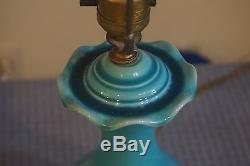 VTG Studio Pottery Turquoise Glazed Brass Table Lamp Blue Light Lighting