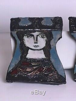 VTG signed Adam Dworski Wall Art King & Queen Plaques Studio Art Pottery Rare