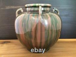 Vintage 1920s 10 Japanese AWAJI Pottery Studio Vase Art Deco Flambé Drip Glaze