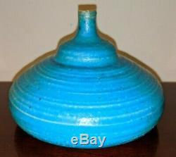 Vintage 1960 STEPHEN POLCHERT studio art pottery vessel vase blue MCM Nebraska