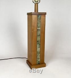 Vintage 1960s Martz Studio Teak Wood & Ceramic Tile Lamp Mid Century Modern