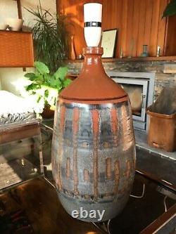 Vintage 1960s Rare Large Studio Pottery Lamp by Langrigg Pottery Bitossi Style