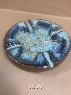 Vintage 1961 Harding Black Studio Pottery Ash Tray Heavy Glazed Piece