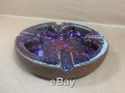 Vintage 1961 Harding Black Studio Pottery Ash Tray Heavy Glazed Piece Purple