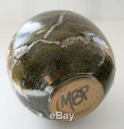 Vintage 1970's Lava Mid-Century Modern Studio Art POTTERY Vase Signed MBP