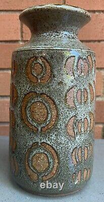Vintage 1970s Handmade Ceramic Studio Pottery Stoneware Vase Modern Art Signed