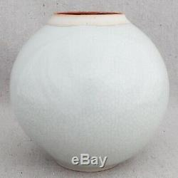 Vintage 1970s Janice Rowell White Crackle Studio Pottery Porcelain Vase Flambe