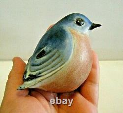 Vintage 1980s Andersen Design Studio Sitting Bluebird Art Pottery Bird Figurine