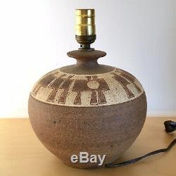 Vintage 1980s Brutalist Table Lamp Base Studio Pottery Stoneware Modern