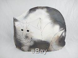 Vintage 1982 MARY GATES DEWEY Signed CAT SCULPTURE Studio Art Pottery Ceramic