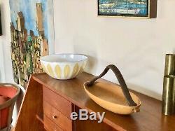 Vintage 1983 Signed L. PULLI MADE IN FINLAND Studio Art Wood + Leather Bowl mcm