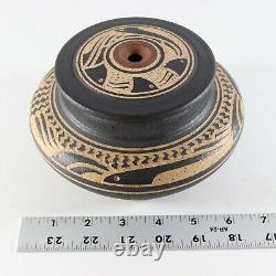Vintage 2/95 Sgraffito Raku CHARLES SMITH Mobile Alabama African Studio Pottery