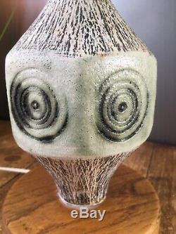 Vintage 60's Textured Circles Studio Pottery Lamp Base Troika Scandi Carn Style