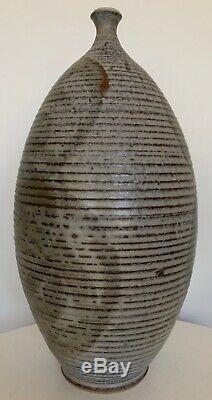 Vintage 60s 70s Deyoe Ribbed Stoneware Studio Pottery Vase Mid Century Modern