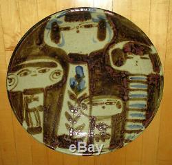 Vintage 60s Mid Century HUGE Modernist Kokeshi Figurine Studio Pottery Bowl