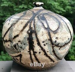 Vintage 60s Round Abstract Ceramic Studio Pottery Vase Vessel Mid Century Modern