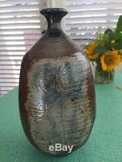 Vintage 80's signed studio art pottery, large tall vase OTTO & VIVIKA HEINO Ojai