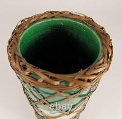 Vintage 9 AWAJI Japanese Studio Art Pottery Incised Cranes Green Vase
