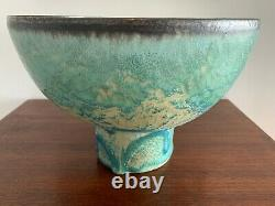 Vintage ABDO NAGI Large Footed Bowl stunning glaze effect (repaired). Signed