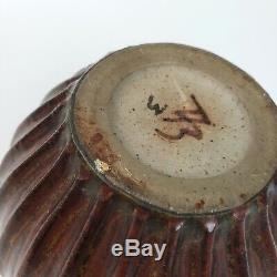 Vintage ARNE BANG Studio Art Deco Ribbed Stoneware Brown Vase 1930's Danish MCM
