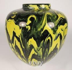 Vintage AWAJI Japanese Yellow Black Studio Art Pottery Vase