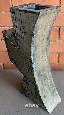 Vintage Abstract Ceramic Studio Pottery Vase Ikebana Mid Century Modern Signed