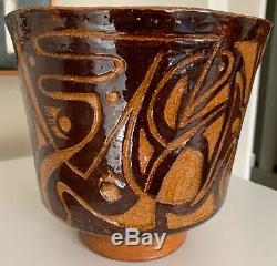 Vintage Abstract Studio Pottery Stoneware Ceramic Planter Mid Century Modern