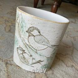 Vintage Andersen Design Studio Art Pottery Chickadee Bird Oval Vase MCM Maine