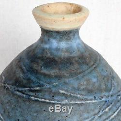 Vintage Andrew Bergloff Mid Century Modern California Studio Pottery Vase Indigo