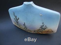 Vintage Annette Do Jongr Signed Aus Studio Pottery Blue Vase Mid-century Modern